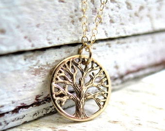 Tree Of Life Necklace, Gold Tree Of Life Necklace, Family Tree Necklace