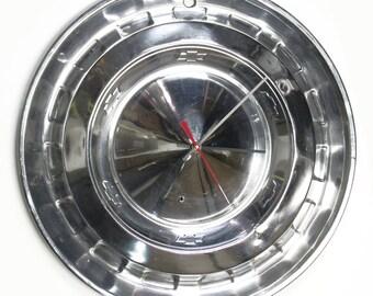 1956 Chevy Bel Air Hubcap Clock - Chevrolet Belair Wall Decor - 56 Classic Car Hub Cap Car Part