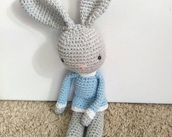 Crochet bunny, amigurumi bunny, baby gift, gift for baby, baby shower gift, ready to ship