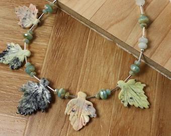 SALE Leaf Necklace, Gemstone Necklace