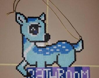 "Blue Deer ""Bathroom"" Sign"