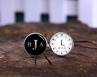 Custom Wedding Cufflinks, Custom Initial And Time Cuff Links, Meet Me At, Clock Cufflinks, Custom Clock Cufflink, Tie Clips, See You At