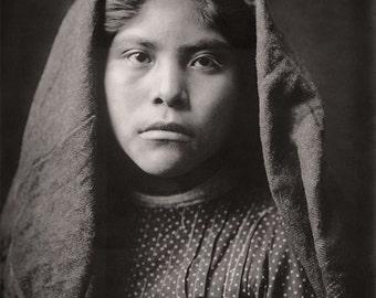 Native American Indian Girl Portrait Photography, Pima School Girl, Indigenous Pima American Girl, Sepia Photograph, 1907