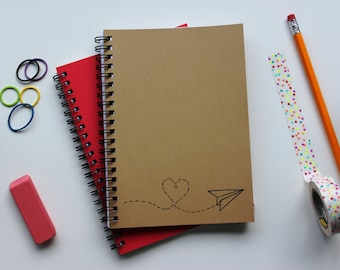 Paper Airplane Heart - 5 x 7 journal