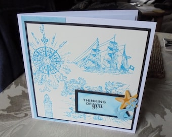 Male thinking of you card. Thinking of you card for a man. Nautical card. Ship and anchor card.