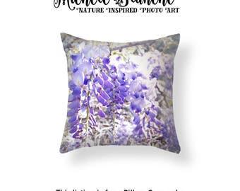 Wisteria Pillow, Purple Blooms Throw Pillow, Lilac Flower Toss Pillow, Nature Flowers Throw Pillow, Dreamy Wisteria Blooms Pillow Case