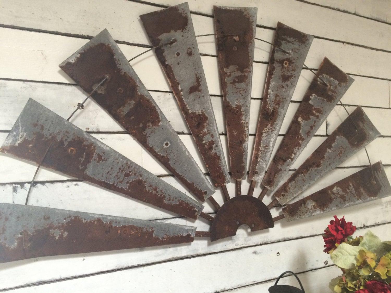 Windmill half metal farmhouse wall art 60 inch gift