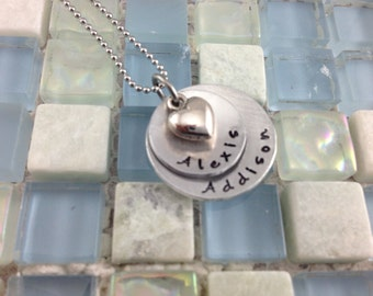 Double Stack disc hand stamped, personalized keepsake necklace for Mommy or Grandma - 2 kids
