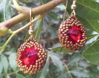 Swarovski Crystal Earrings Gold filled Earrings Red beaded earrings OOAK Top valentine gifts Special valentine gift Valentines jewelry
