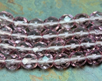 Czech Glass Beads, 4mm Faceted, Fire Polished in Lavender Purple -50