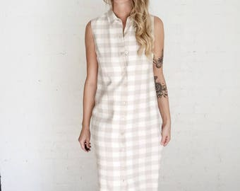 90s oatmeal & cream plaid market dress