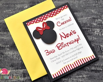 Minnie Mouse Invitations · A2 LAYERED · Red and Yellow · Birthday Party | Mickey Mouse Clubhouse | Preschool