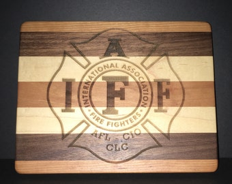 IAFF Cuttingboards Made Out Of Cherry, Maple, and Black Walnut.  (8 X10 size displayed)