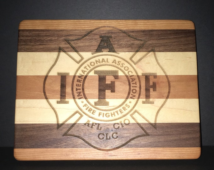 Featured listing image: IAFF Cuttingboards Made Out Of Cherry, Maple, and Black Walnut.  (8 X10 size displayed)