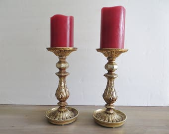 """Vintage pair 70s Dilly candle holders, pillar candle sticks, home decor, ornate gold copper color, 9 1/4"""" high, made in USA."""