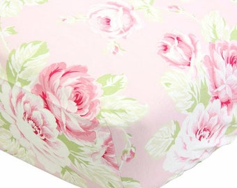Sunshine Roses Pink Floral Fitted Crib Sheet