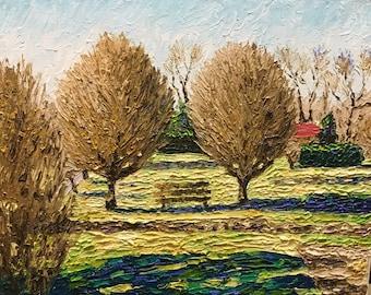 "Original Impressionist style Impasto oil painting by Michigan artist 11x14 ""Winter Gardens"""