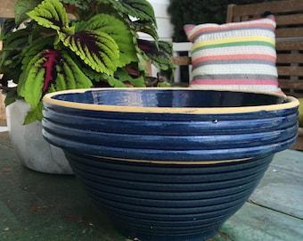 Vintage Blue Stoneware Mixing Bowl - Vintage Large Blue Stoneware Bowl
