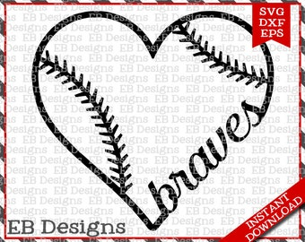 Braves Baseball Love SVG DXF EPS Cutting Machine Files Silhouette Cameo Cricut Baseball Vinyl Cut File Softball Vector svg file
