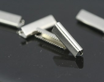 30 pcs 6x19 mm nickel plated ribbon crimp ends, ribbon crimp end, ribbon crimp ends cap, findings N23 1790