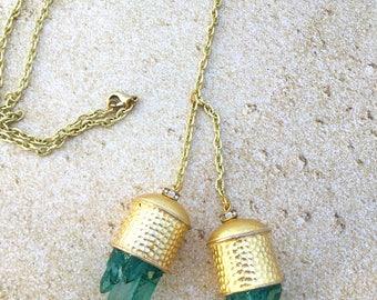 Handmade Quartz Boho Necklace, Adjustable to wear long or short, Gypsy, Goddess, Festival, Yoga, Energy, Unique (Captured Light Necklace)
