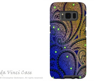 Paisley Case for Samsung Galaxy S8 - Purple and Yellow Paisley S8 Case with Art - Midnight Astral Paisley - Dual Layer Case by Da Vinci Case