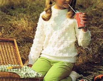 Girl's Round Crew Neck Sweater Pullover Jumper - Size 66 to 76 cm (26 to 30 inch) - Lister Lee Meraklon DK  1610 - Vintage Knitting Pattern