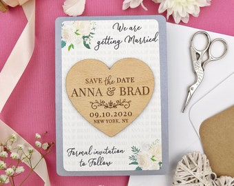 Heart Save the Date Magnet, Wood Save the Date, Ivory Floral Save the Date, Wedding Invitation Set, Floral Wooden Magnet, Gray Save the Date