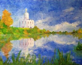 "Church. Original Acrylic Painting on Canvas Panel 24"" x 18"""