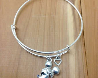 Disney Charm Bracelet - Mickey Mouse - Mickey Jewelry - Disney Jewelry - Adjustable Bangle Bracelet - ADULT & KIDS SIZES Available