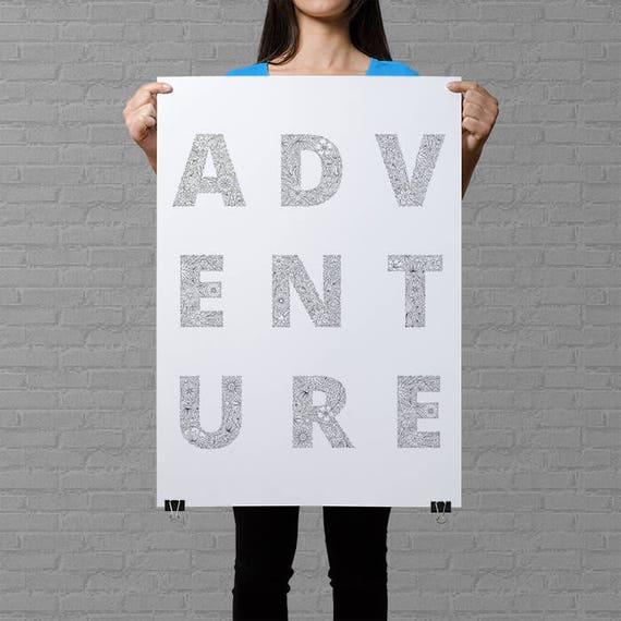 Abenteuer-Poster zur Farbe im Erwachsenen Färbung Poster