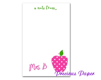 Personalized Teacher note pads Personalized teacher gift Personalized teacher pink polka dot apple notepad apple note pad