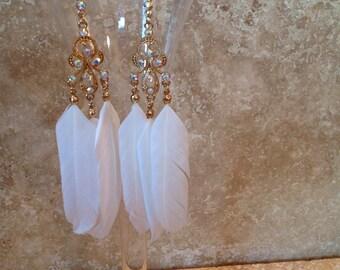 Feather chandelier earrings