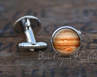 Jupiter cufflinks, cuff links, jupiter, planet cufflinks, galaxy, solar system