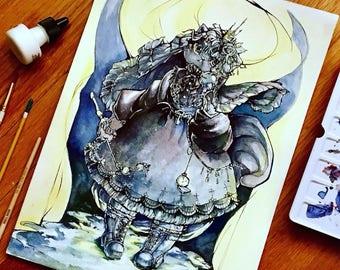 Art Print || 11 x 14 inch Lolita Fashion Cat Art Print || Watercolor Print || Gothic Lolita || OTT Lolita Fashion || Jfashion || EGL