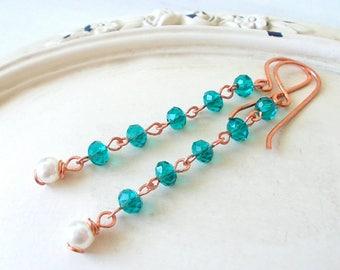 Rosary earrings, linear beaded dangle earrings, colorful dangle earrings, beaded earrings, colorful earrings, beaded wire earrings, gift her