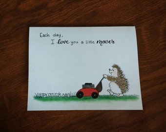 Father's day lawnmowing hedgehog card