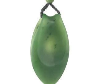 "Jade Worry Stone Pendant, 1.9"""