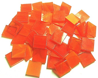 BRIGHT ORANGE WISPY Transparent Stained Glass Mosaic Tile C4