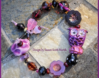 Purple Hoot Owl bracelet with beads by Bo Hulley, Grubbi, and Beads by Earth Tone