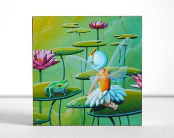 """Art Block - Fairy And The Frog - land of the flying lilypads - 3.5"""" natural wood - by Cindy Thornton"""