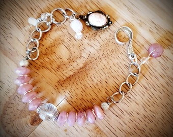 Pink rose quartz bracelet, one of a kind