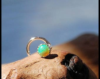Green Opal Nose Stud / Nose Ring / Gemstone Nose Ring / Rock Your Nose / Unique Nose Jewelry  -  CUSTOMIZE