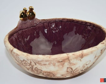 Gold-birds Large Purple Bowl, Handmade Luxury Ceramic, Melbourne