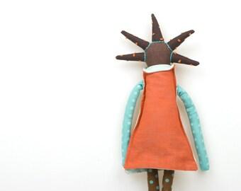Stuffed toy , handmade plushy , babyshower present , African american doll , modern rag doll , Plushie Softie doll , Handmade fabric toy