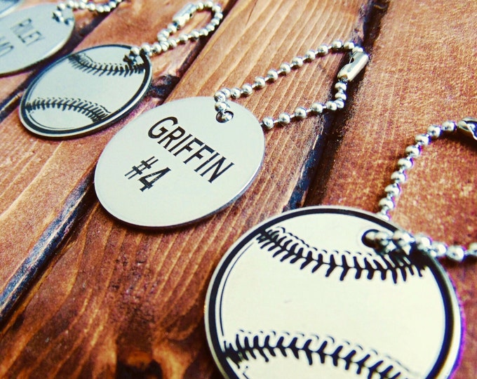 Baseball Bag Tags- Team Souvenir Gifts- Circle Key Chain, Stainless Steel or Brass, personalize, custom keychains, handwritten gifts,