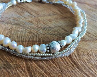 Freshwater pearls Ankle bracelet, boho wedding anklet, white anklet, bohemian chic summer jewelry