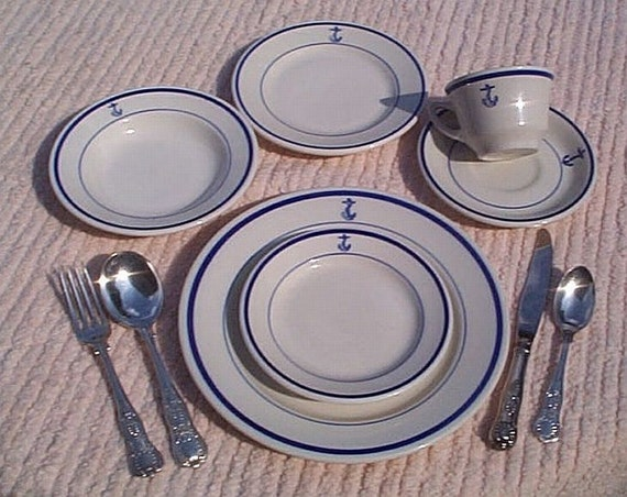US Navy Wardroom Officers Mess Anchor China and Silverware Complete 10pc Placesetting WWI WWII Korea Vietnam era Perfect Nautical Navy Gift & US Navy Wardroom Officers Mess Anchor China and Silverware