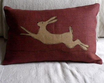 Mulberry leaping hare cushion cover