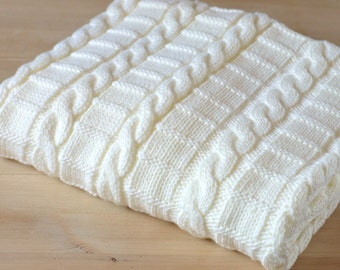 Knitting pattern afghan baby blanket 3 Sizes Easy Beginner Baby Blank Cable Pattern PDF Digital File Instant Download